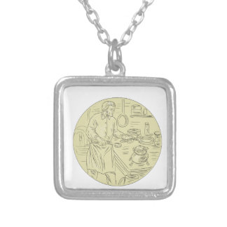 Medieval Cook Kitchen Oval Drawing Silver Plated Necklace