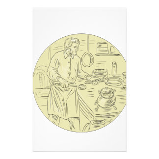 Medieval Cook Kitchen Oval Drawing Stationery