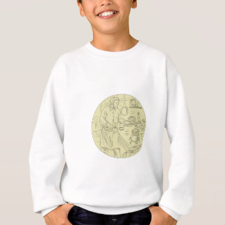 Medieval Cook Kitchen Oval Drawing Sweatshirt
