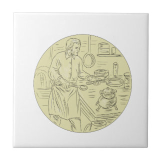 Medieval Cook Kitchen Oval Drawing Tile