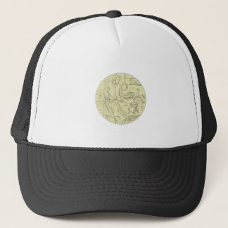 Medieval Cook Kitchen Oval Drawing Trucker Hat