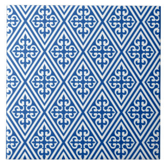 Medieval Cross Damask - Cobalt Blue and White Ceramic Tile
