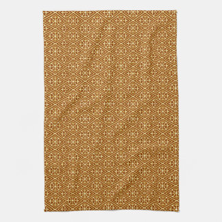 Medieval Damask Diamonds, copper and cream Tea Towel
