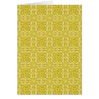 Medieval Damask Fleur-de-lis, mustard gold Greeting Card