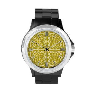 Medieval Damask Fleur-de-lis, mustard gold Wristwatch