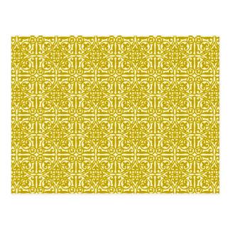 Medieval Damask Fleur-de-lis, mustard gold Postcard