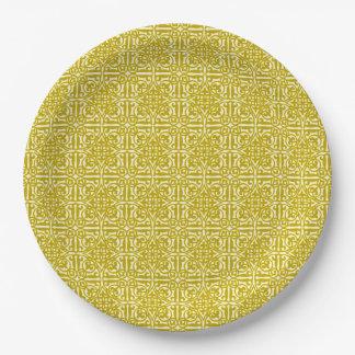 Medieval Damask Fleur-de-lis, mustard gold 9 Inch Paper Plate