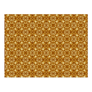 Medieval Damask pattern, copper and cream Postcard