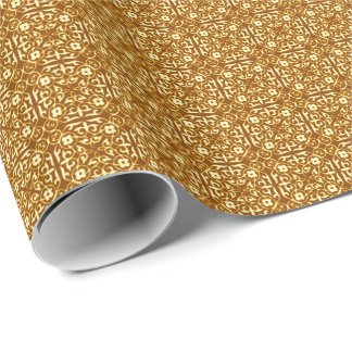 Medieval Damask pattern, copper and cream Wrapping Paper