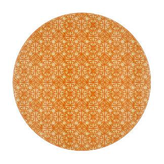 Medieval Damask pattern, mandarin orange Cutting Board