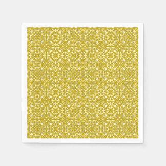 Medieval Damask pattern, mustard gold Disposable Napkin