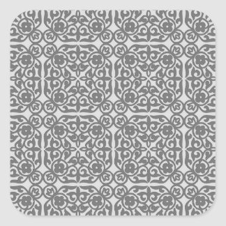 Medieval Damask pattern, silver grey Square Sticker