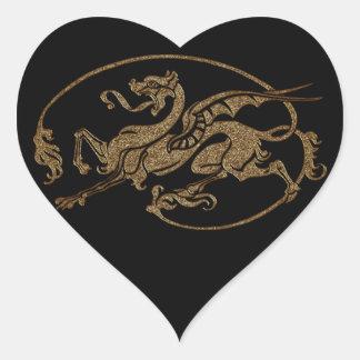 Medieval Dragon Antique Art Designer Gift Heart Sticker