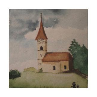 Medieval English Church Watercolour Canvas Print