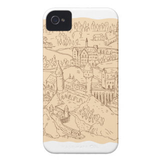 Medieval Fantasy Map Drawing iPhone 4 Case-Mate Cases