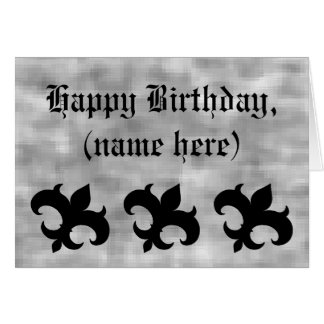 Medieval fleur de lis on gray grunge birthday greeting card