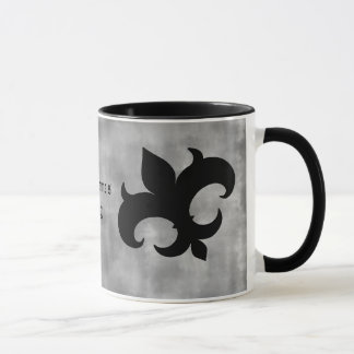 Medieval fleur de lis on gray grunge mug