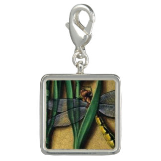 Medieval Flora Square dragonfly charm