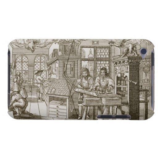 Medieval German printing press (engraving) Barely There iPod Cases