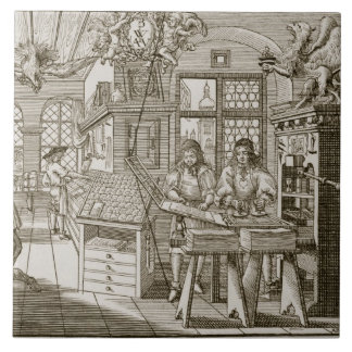Medieval German printing press (engraving) Tile