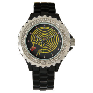 MEDIEVAL GOLD HYPER LABYRINTH WITH GEMSTONES Black Wristwatch