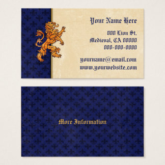 Medieval Gold Lion Blue Fleur de Lis Business Card
