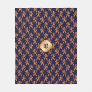 Medieval Gold Lion Blue Fleur de Lis Fleece Blanket