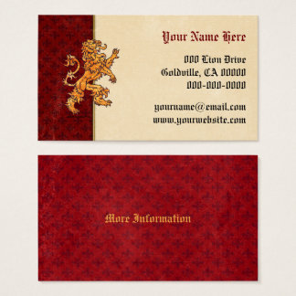 Medieval Gold Lion Red Fleur de Lis Business Card