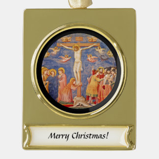Medieval Good Friday Scene Gold Plated Banner Ornament