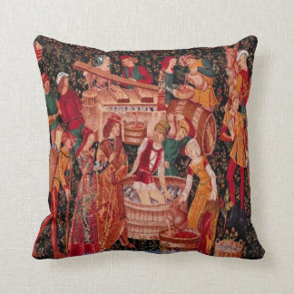 """"""" Medieval Grape Harvest Wall Tapestry"""" Cushion"""