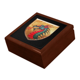 Medieval Green Dragon Shield Large Square Gift Box