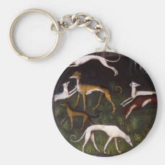 Medieval Greyhounds in the Deep Woods Basic Round Button Key Ring