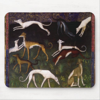 Medieval Greyhounds in the Deep Woods Mouse Pad