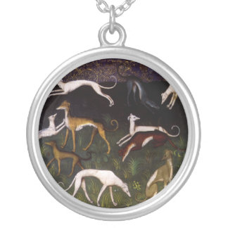 Medieval Greyhounds in the Deep Woods Silver Plated Necklace