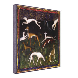 Medieval Greyhounds in the Forest Canvas Print