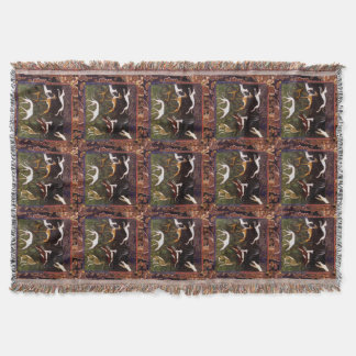 Medieval Greyhounds In The Forest Pattern Throw Blanket