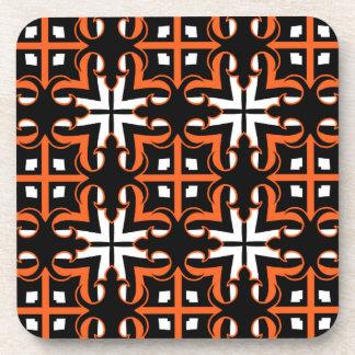 Medieval Halloween colors kaleidoscope pattern Beverage Coasters