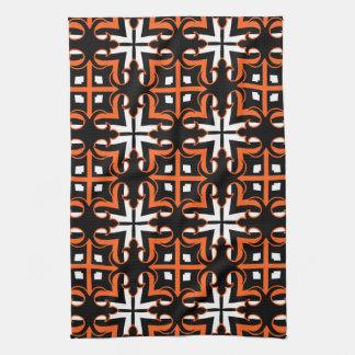Medieval Halloween colors kaleidoscope pattern Towel