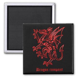 Medieval Heraldry Dragon Square Magnet