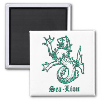 Medieval Heraldry Sea-lion Square Magnet