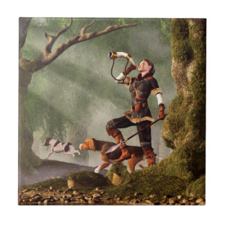 Medieval Huntress Small Square Tile