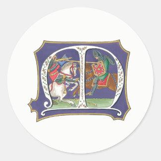 Medieval Joust Classic Round Sticker