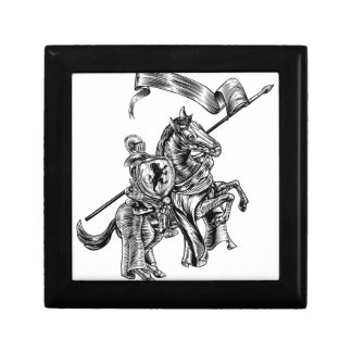 Medieval Knight on Horse Vintage Woodcut Style Gift Box