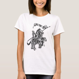 Medieval Knight on Horse Vintage Woodcut Style T-Shirt