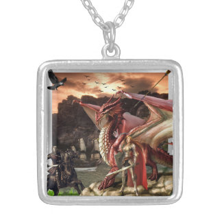 medieval knights and dragon silver-plated necklace