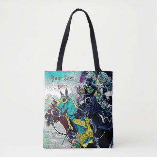 medieval knights jousting on horses art design tote bag