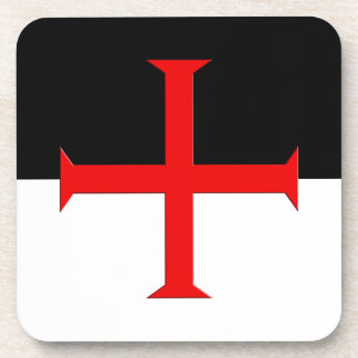 Medieval Knights Templar Cross Flag Beverage Coasters