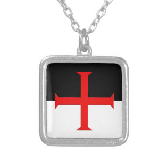 Medieval Knights Templar Cross Flag Silver Plated Necklace