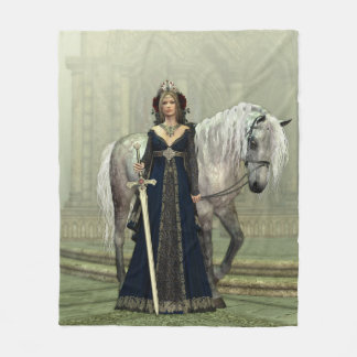 Medieval Lady and Horse Fleece Blanket