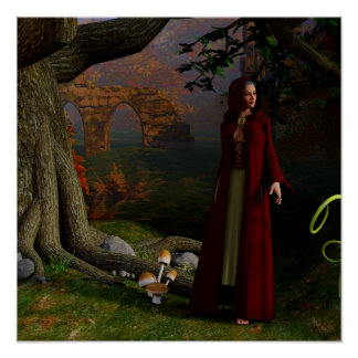 Medieval Lady Fantasy Art Forest Poster